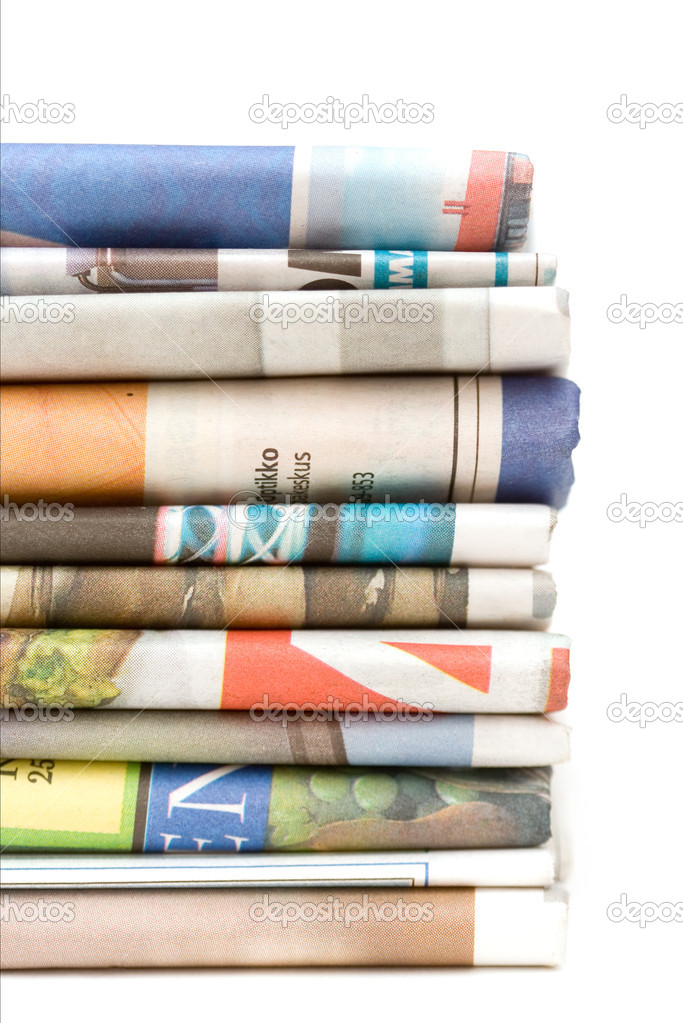 Stack of newspapers on white isolated background — Stock Photo #6287705