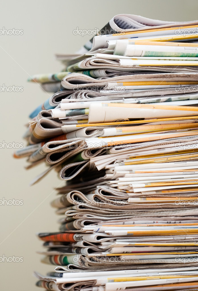 Big pile of newspapers, focus in front — Stock Photo #6287731
