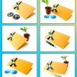 Royalty-Free Stock Photo: Collage with postcards on blue and yellow background