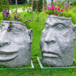 Two heads - flowerpots in Brest, Belarus — Stock Photo