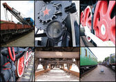 Collage with different parts of old trains — Stock Photo
