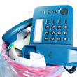 Old-fashion phone in rubbish bin — Stock Photo