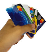 Man hand holding credit cards isolated — Stock Photo