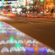 Neon lights at night, Kreschatik st., Kiev, Ukraine — Foto Stock