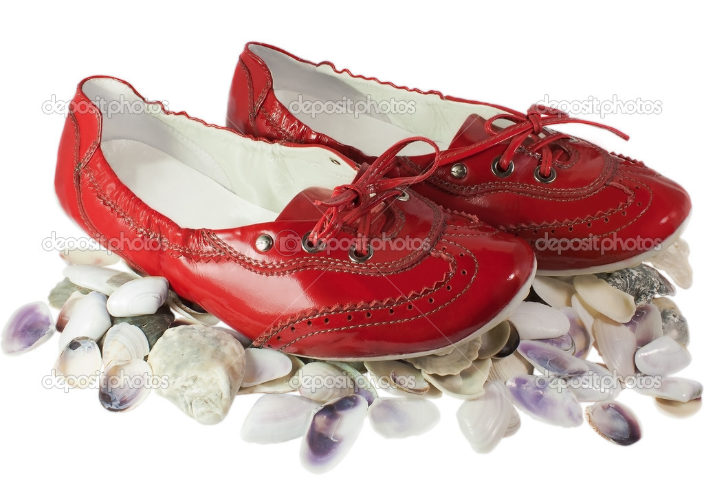Red lady ballet flat shoes and seashells isolated on white background  Stock Photo #6490298