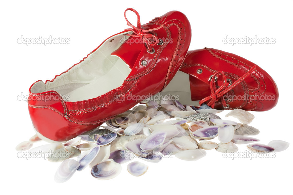 Red lady ballet flat shoes and seashells isolated on white background  Stock Photo #6501204