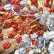 Stock Photo: Red and white spangled flowers