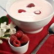 Raspberry with yogurt — Stok fotoğraf