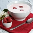 Raspberry with yogurt — Stockfoto