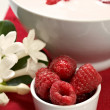 Raspberry with yogurt — ストック写真