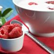 Raspberry with yogurt — Stock Photo