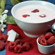 Raspberry with yogurt — Stock fotografie