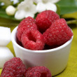 Raspberry with yogurt — 图库照片