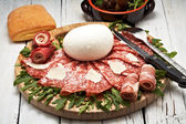 Mozzarella and pepperoni — Stock Photo