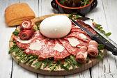 Mozzarella and pepperoni — Stock Photo