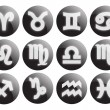 Stock Vector: Black horoscope symbols
