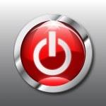 vecteur de bouton de puissance rouge — Vecteur