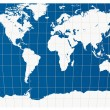 White world map isolated on blue back ground — Stock Vector