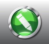 Green pencil button vector — Stock Vector