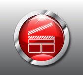 Vector de botón rojo de la película — Vector de stock