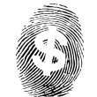 Vector of a finger print with dollar sign - Stock Vector