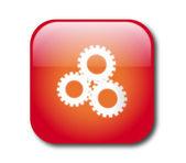 Kırmızı ayarları düğmesini vektör — Stok Vektör