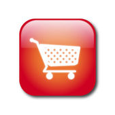 Red shopping button vector — Stock Vector