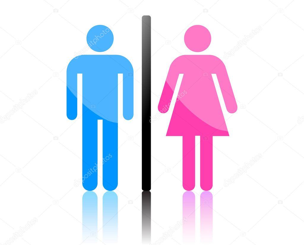 Coloridos masculino e feminino sinal vector — Vetor de Stock © JoeArt #6199946 -> Sinal Banheiro Feminino