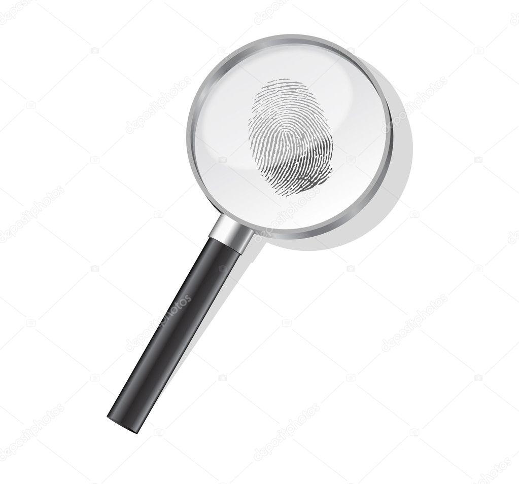detective magnifier with fingerpint vector stock vector joeart 6199957. Black Bedroom Furniture Sets. Home Design Ideas