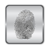 Chrome fingerprint button vector — Stock Vector