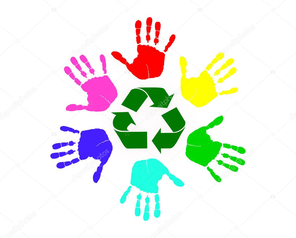 Many different colored hands working to recycle together   Stock Vector #6448162