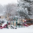 Kids playground in winter snow — Stock Photo #6192235