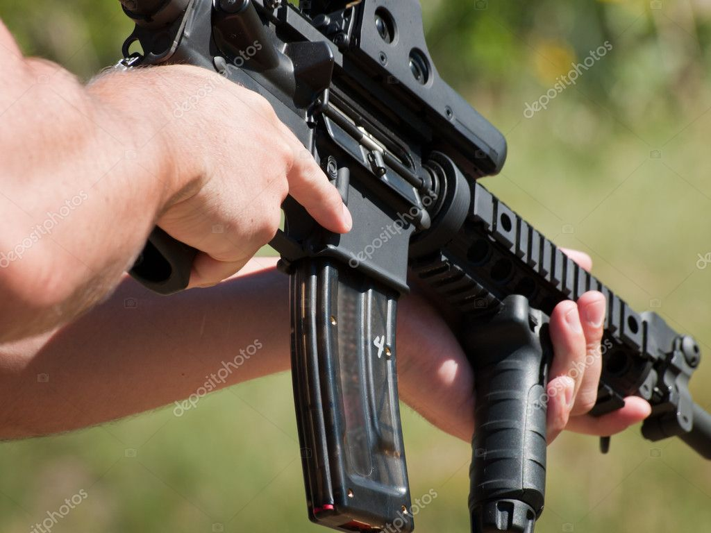 Firearm AR-15 for target shooting.  Stock Photo #6322481
