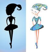 A delicate dancing ballerina cartoon girl card — Stock Vector