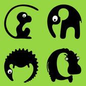 Round wild animals: monkey, elephant, crocodile, hippo — Stock Vector