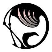 Flamingo symbol or logo in a circle — Stock Vector