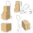 Royalty-Free Stock Vector Image: Storehouse Carts sketch with cardboard boxes