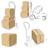 Storehouse Carts sketch with cardboard boxes — Stock Vector