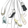 Shoes and legs hanging in a bunch — Stock Vector