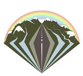 Mountains road and a rainbow — Stock Vector