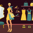 Boutique Shopping — Stockvectorbeeld