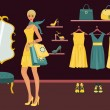 Boutique Shopping — Imagen vectorial