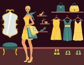 Boutique shopping — Stockvektor