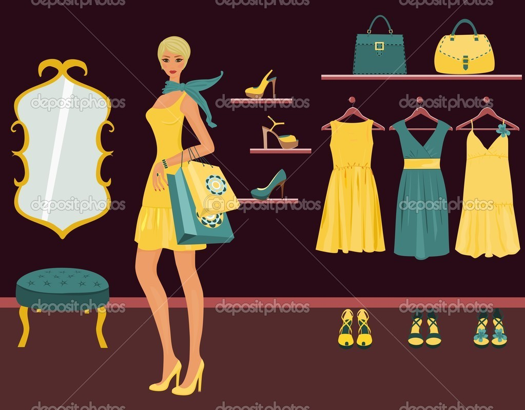 A beautiful blond woman shopping in a boutique. — Stock Vector #6483835