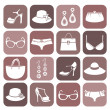 Stock Vector: Fashion Items Icon Set