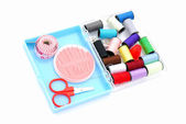 Sewing kit in box — Stock Photo