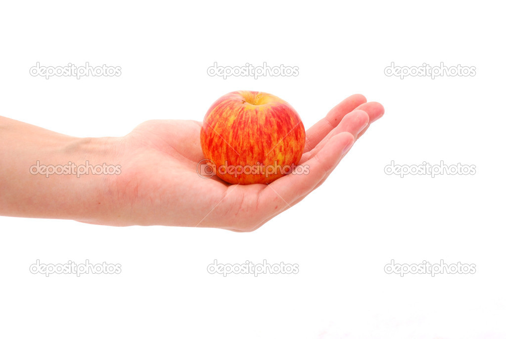 A female Caucasian white hand holding a fresh red apple. Image isolated on white studio background. — Stock Photo #6335212