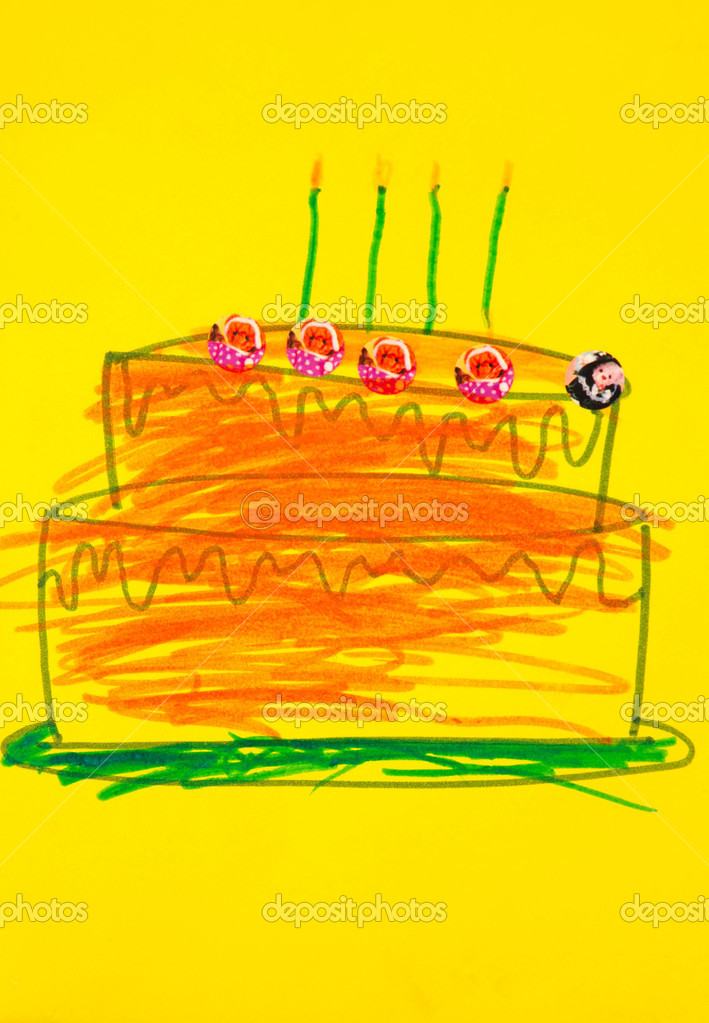 A colorful kids hand painting of a birthday cake on a yellow card — Stock Photo #6495812