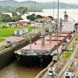 Ship enter Panama Channel Lock — Stock Photo