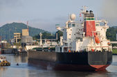Ship enter the Panama Channel Lock — Stock Photo
